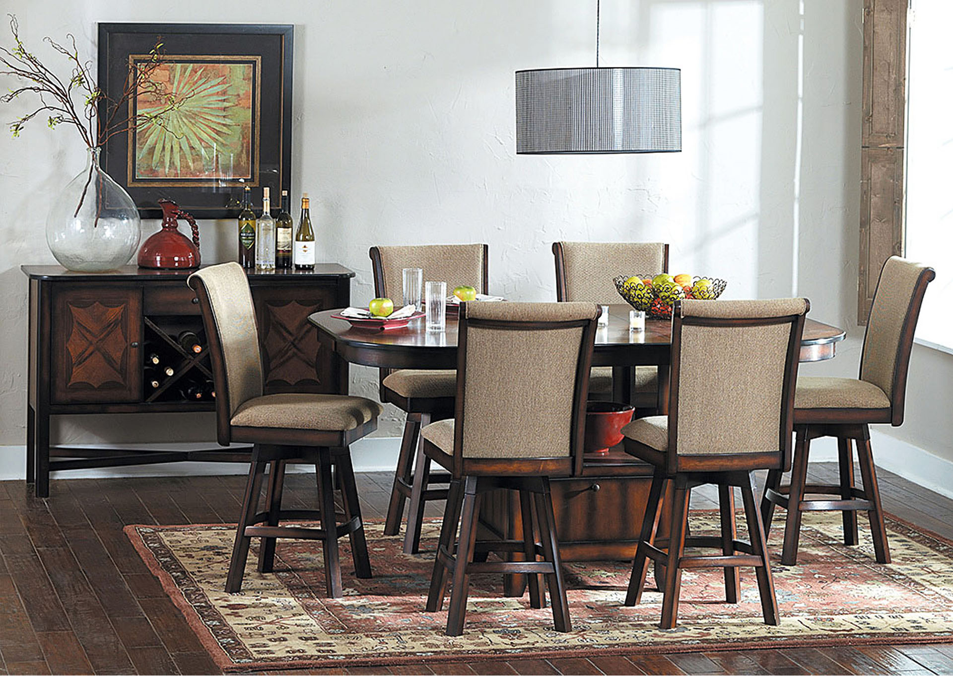 Westwood Counter Height Dining Table W/4 Swivel Side Chairs,Homelegance