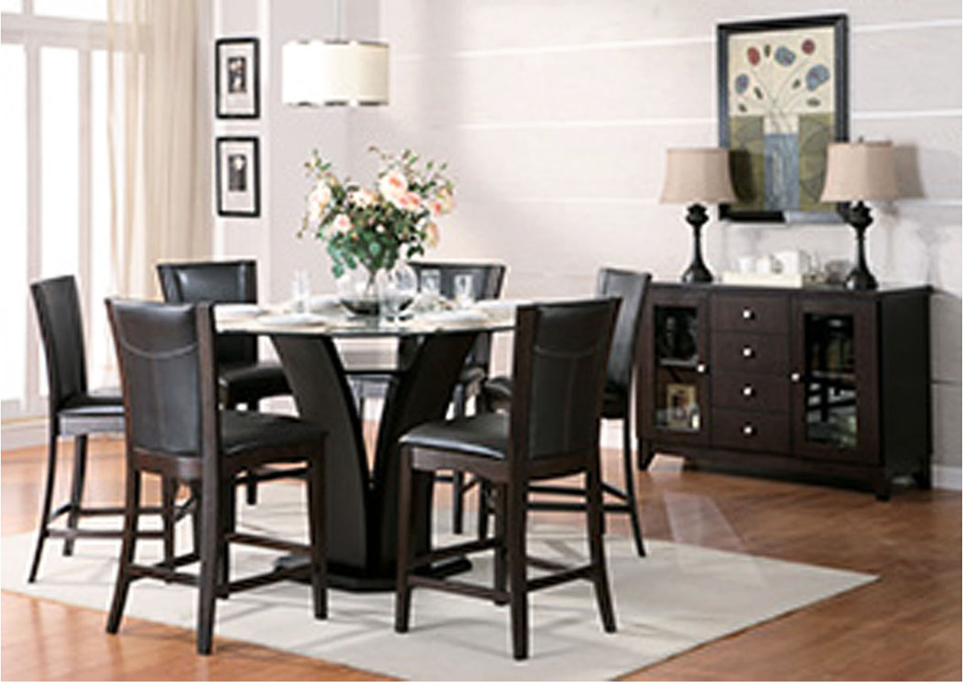 ... Round Glass Top Dining Table W/4 Counter Height Chairs. Daisy 54