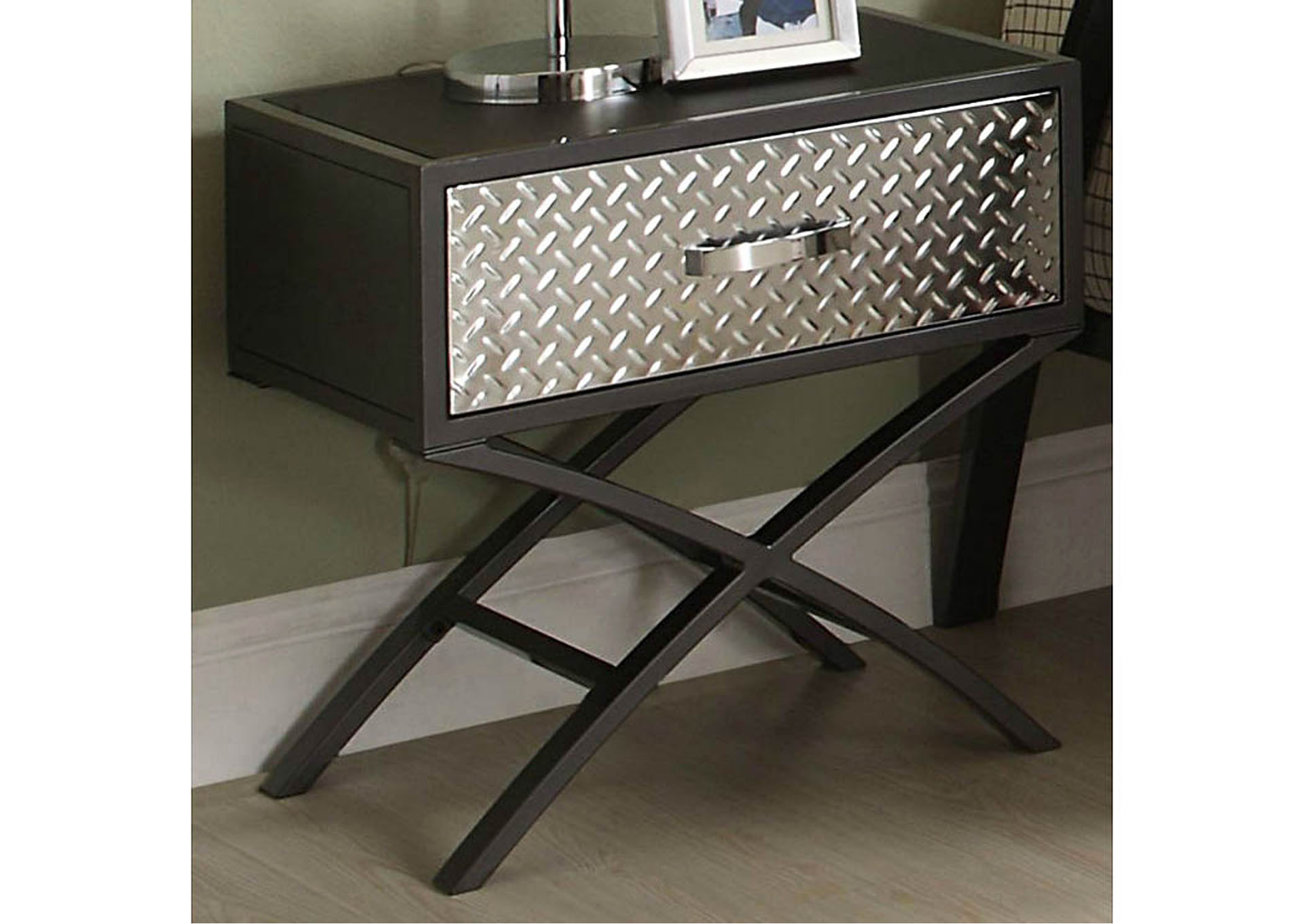 Spaced-Out Gun Powder Metal Nightstand,Homelegance