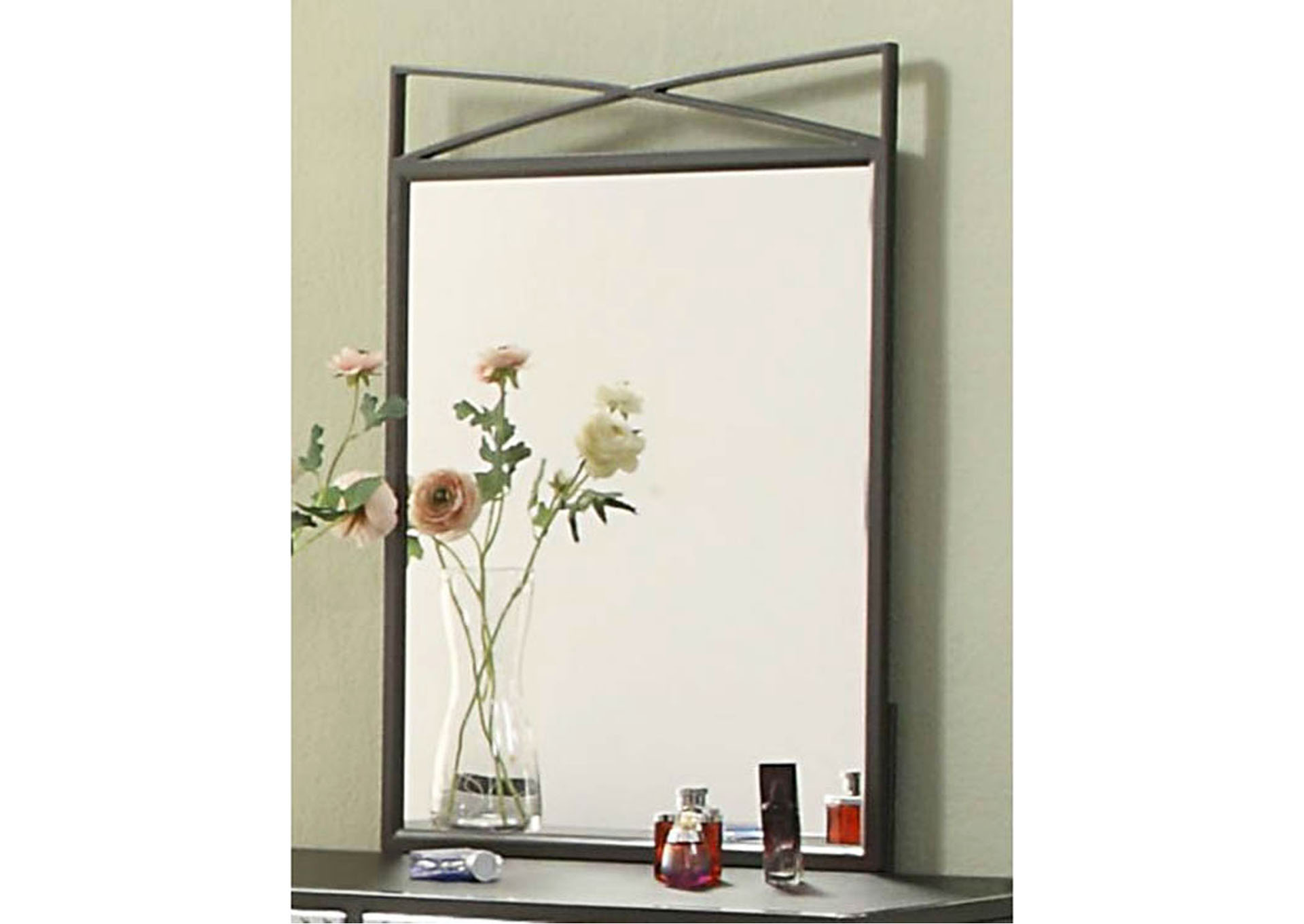 Spaced-Out Gun Powder Metal Mirror,Homelegance