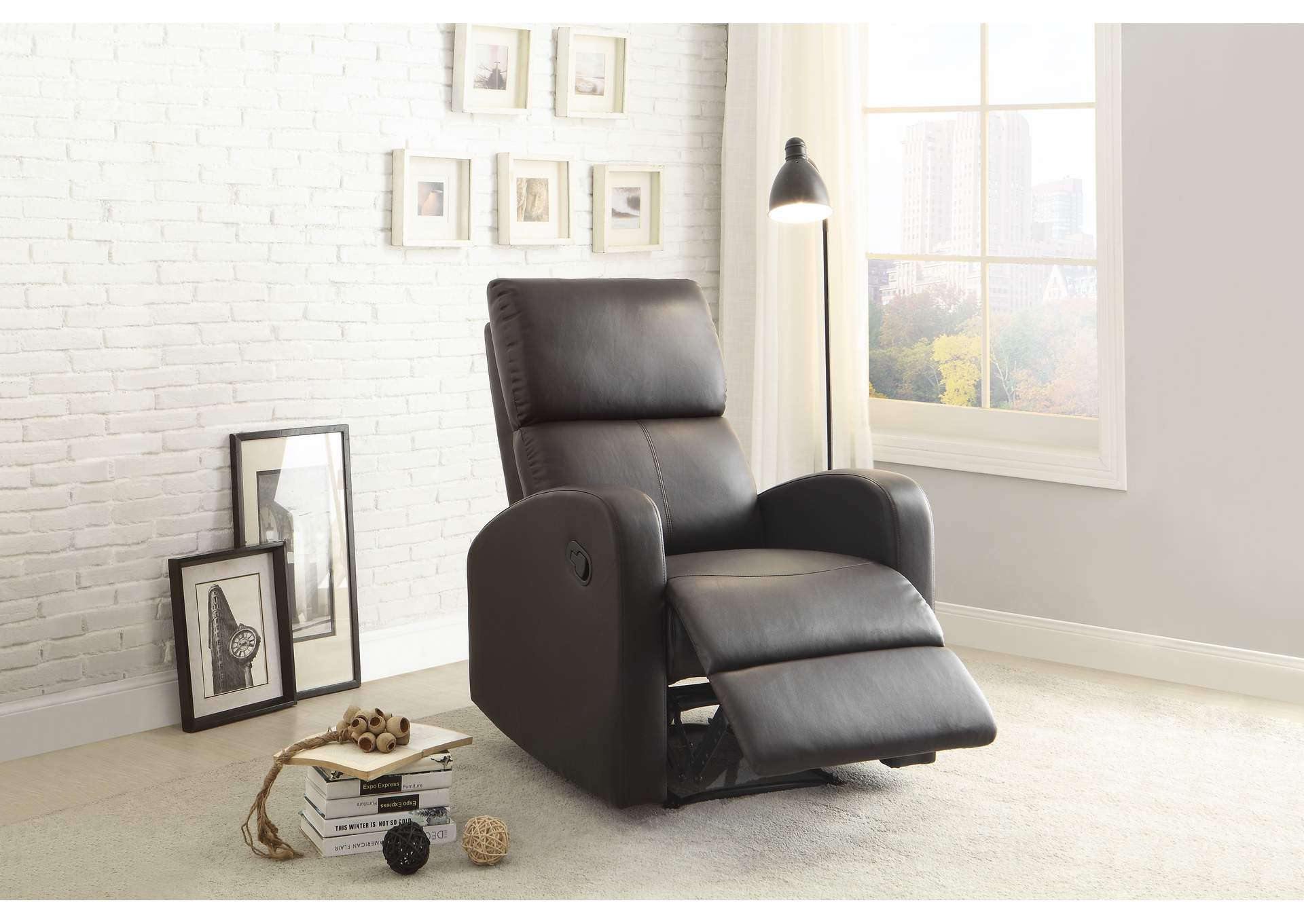 Mendon Dark Brown Reclining Chair,Homelegance