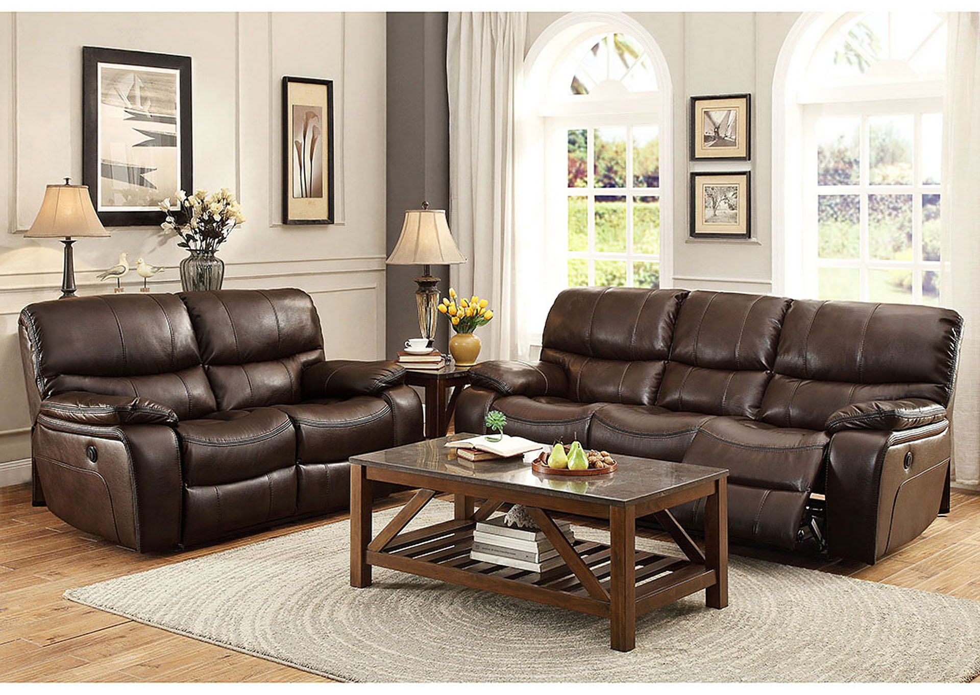 Aloha Furniture Pecos Brown Leather Power Double Reclining Sofa