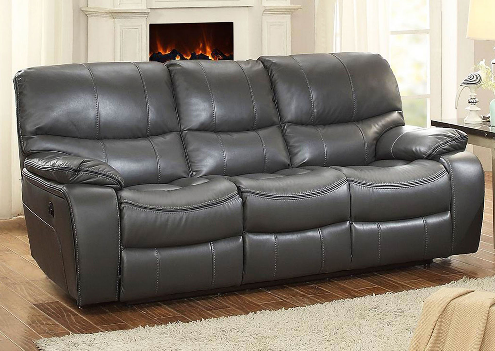 Trumbull Furniture & Trumbull Kids Pecos Gray Leather Power Double ...