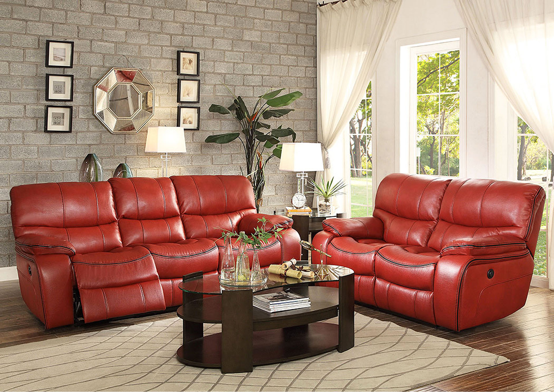 Compass Furniture Pecos Red Leather Double Reclining Sofa