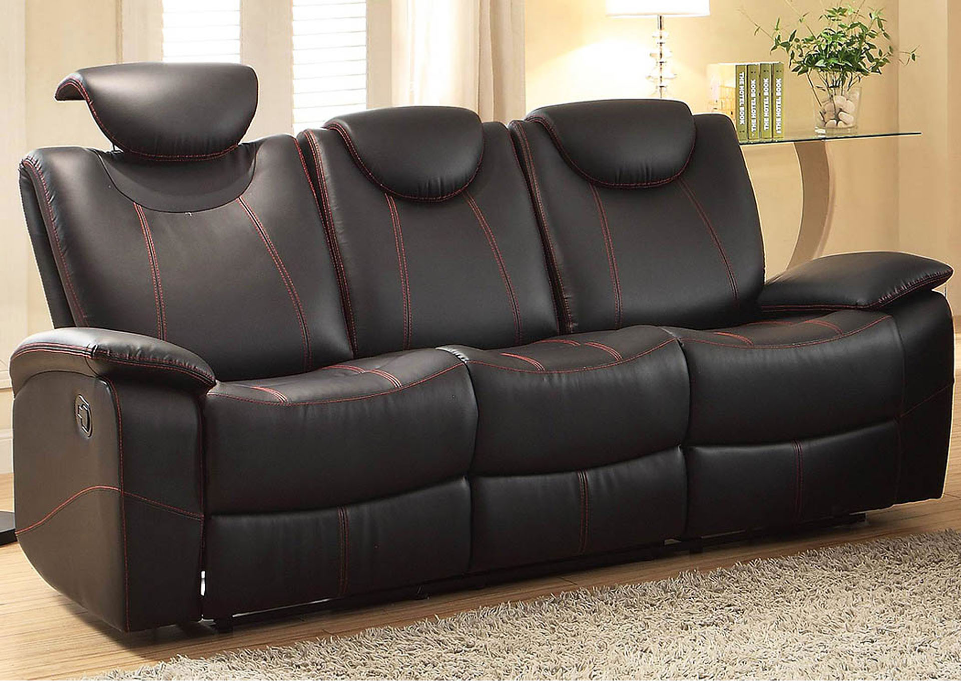 Talbot Black Double Reclining Sofa,Homelegance