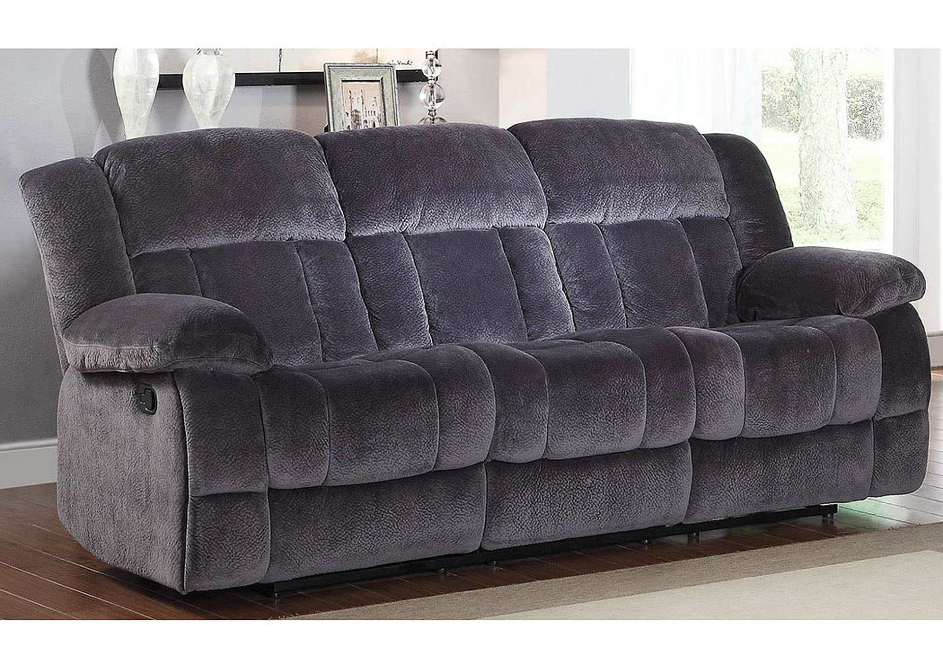 Laurelton Charcoal Double Reclining Sofa,Homelegance