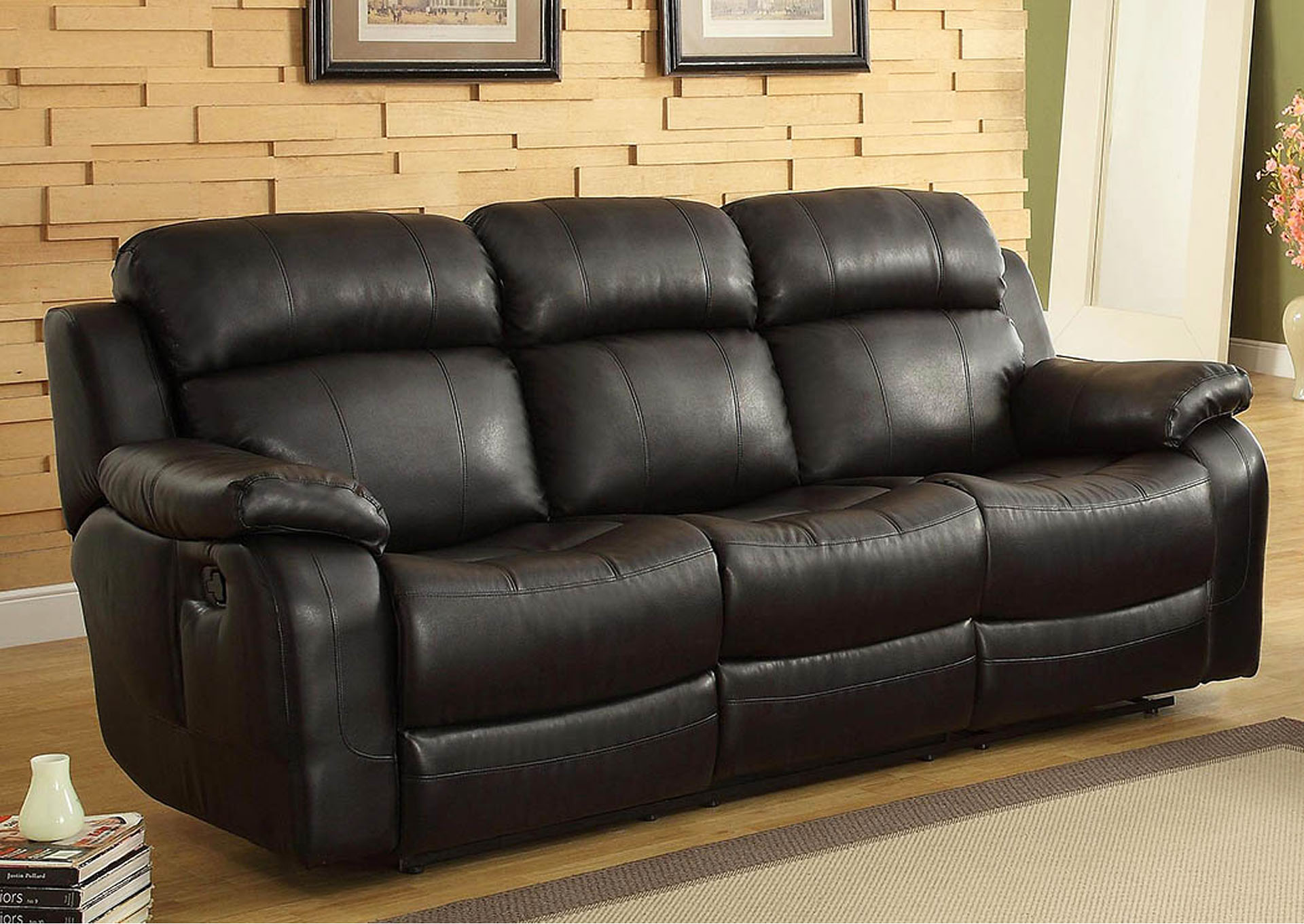 Stylehouse Furnishings Marille Black Double Reclining Sofa W Center