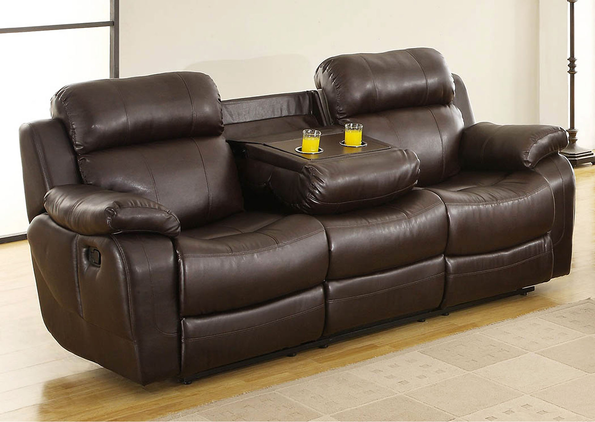 Ideal Furniture And Mattress Marille Brown Double Reclining Sofa W