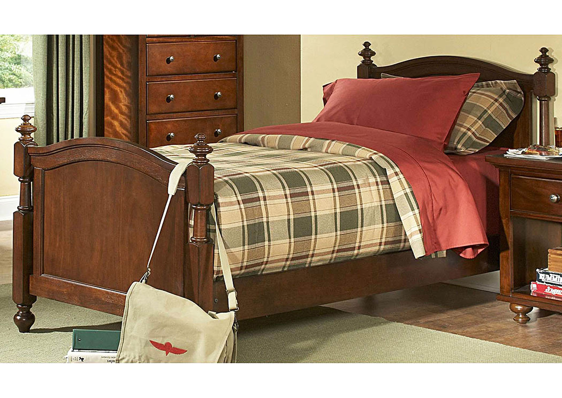 Aris Warm Brown Cherry Twin Bed,Homelegance