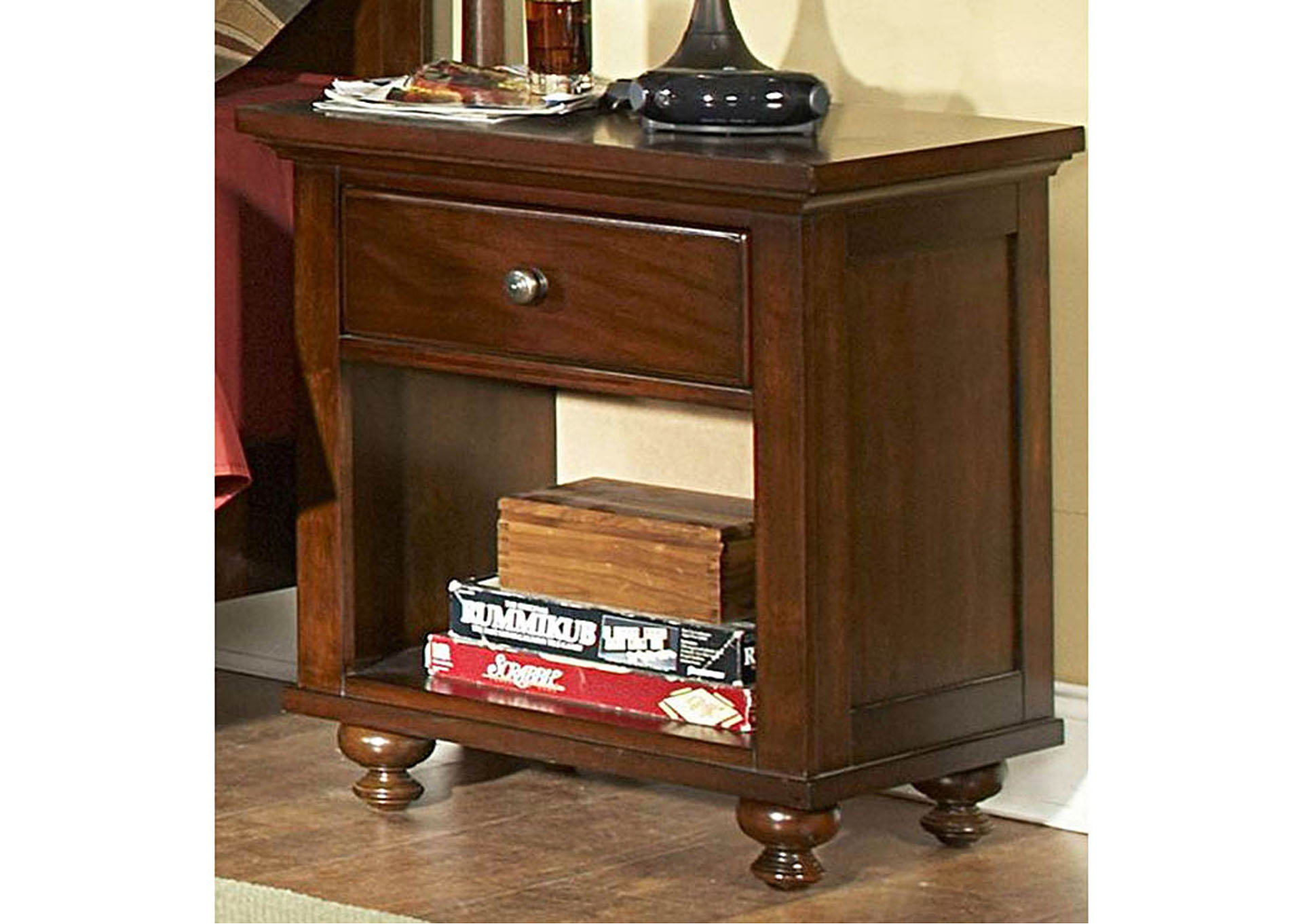 Aris Warm Brown Cherry Nightstand,Homelegance