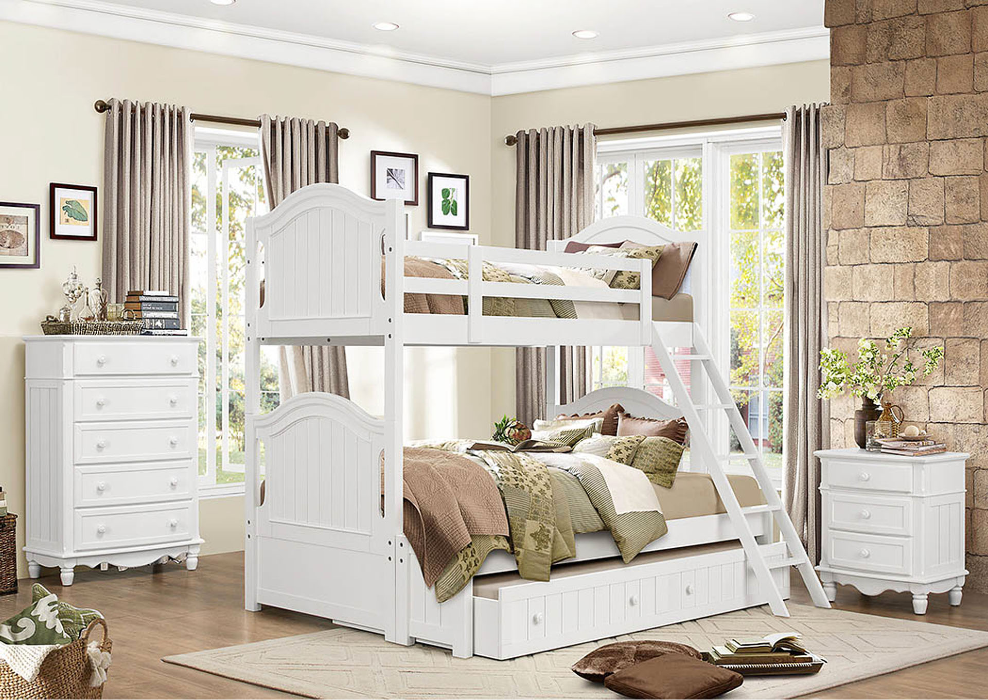 Clementine White Full Bunk Bed,Homelegance