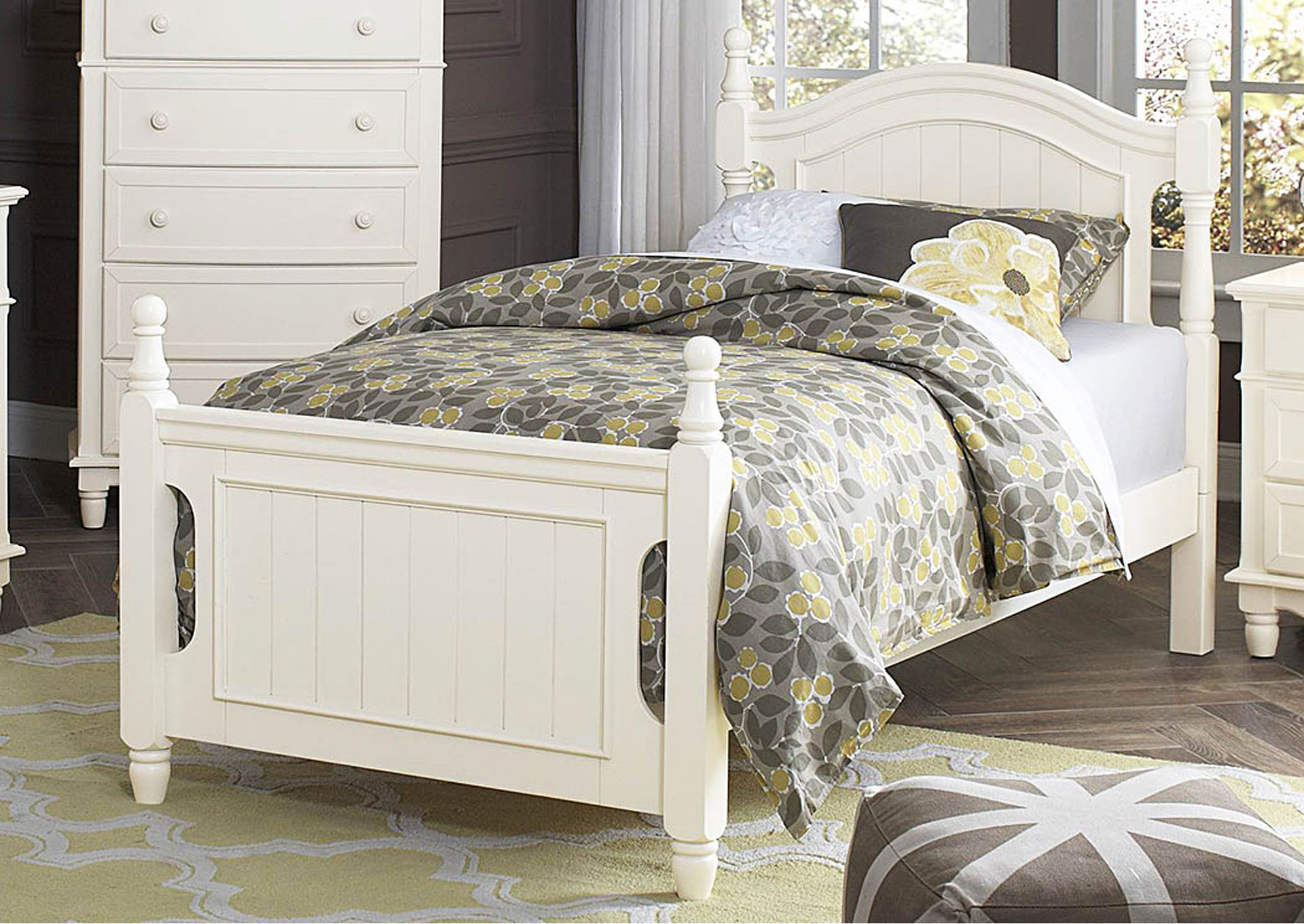Clementine White Twin Bed,Homelegance