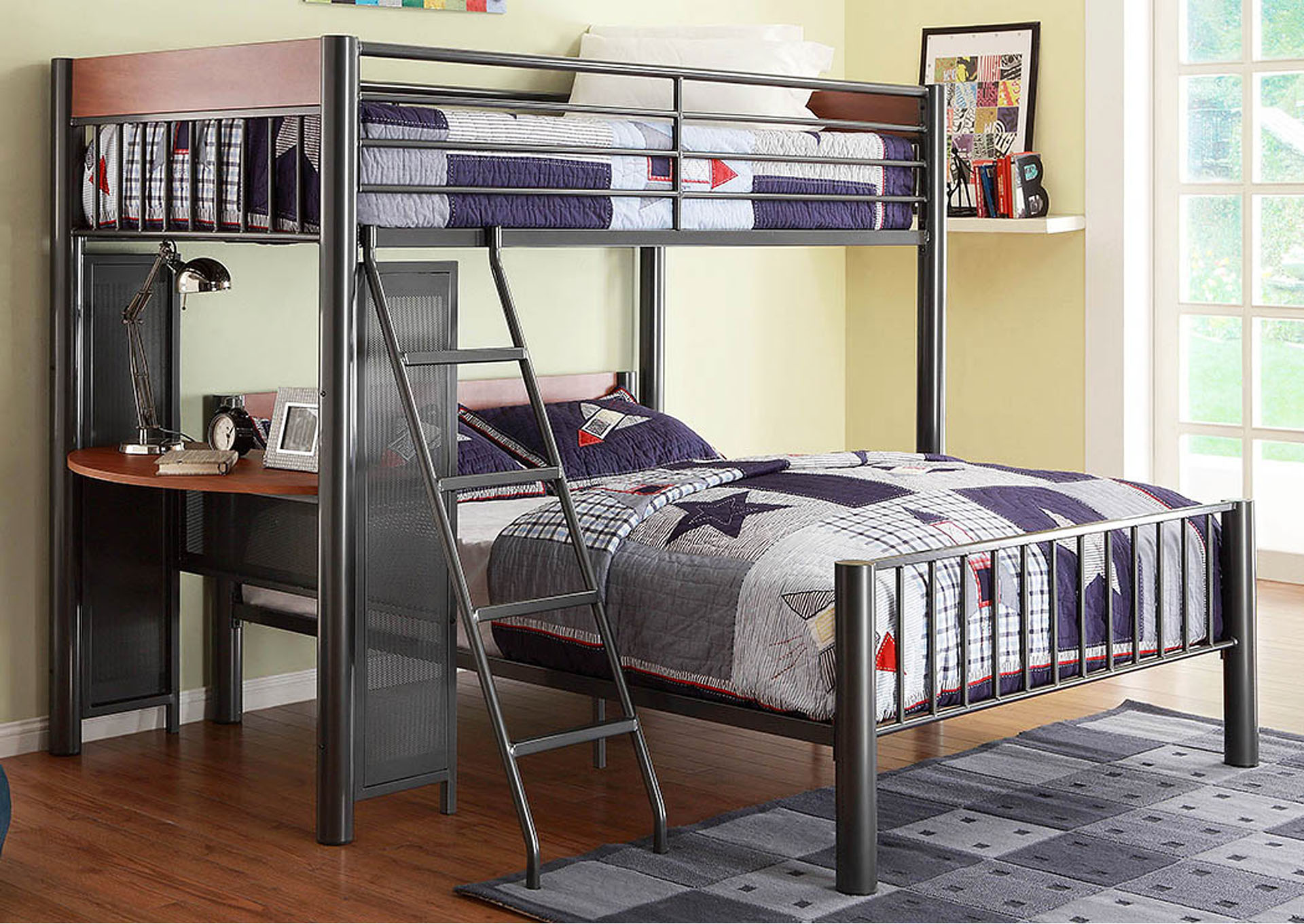 Division Grey Twin/Twin Loft Metal Bed w/Shelf,Homelegance