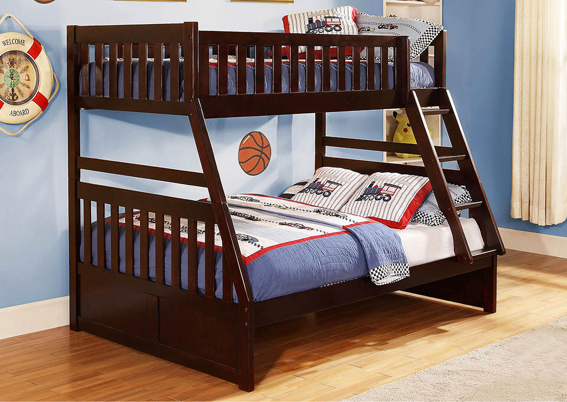Rowe Dark Cherry Twin/Full Bunk Bed,Homelegance