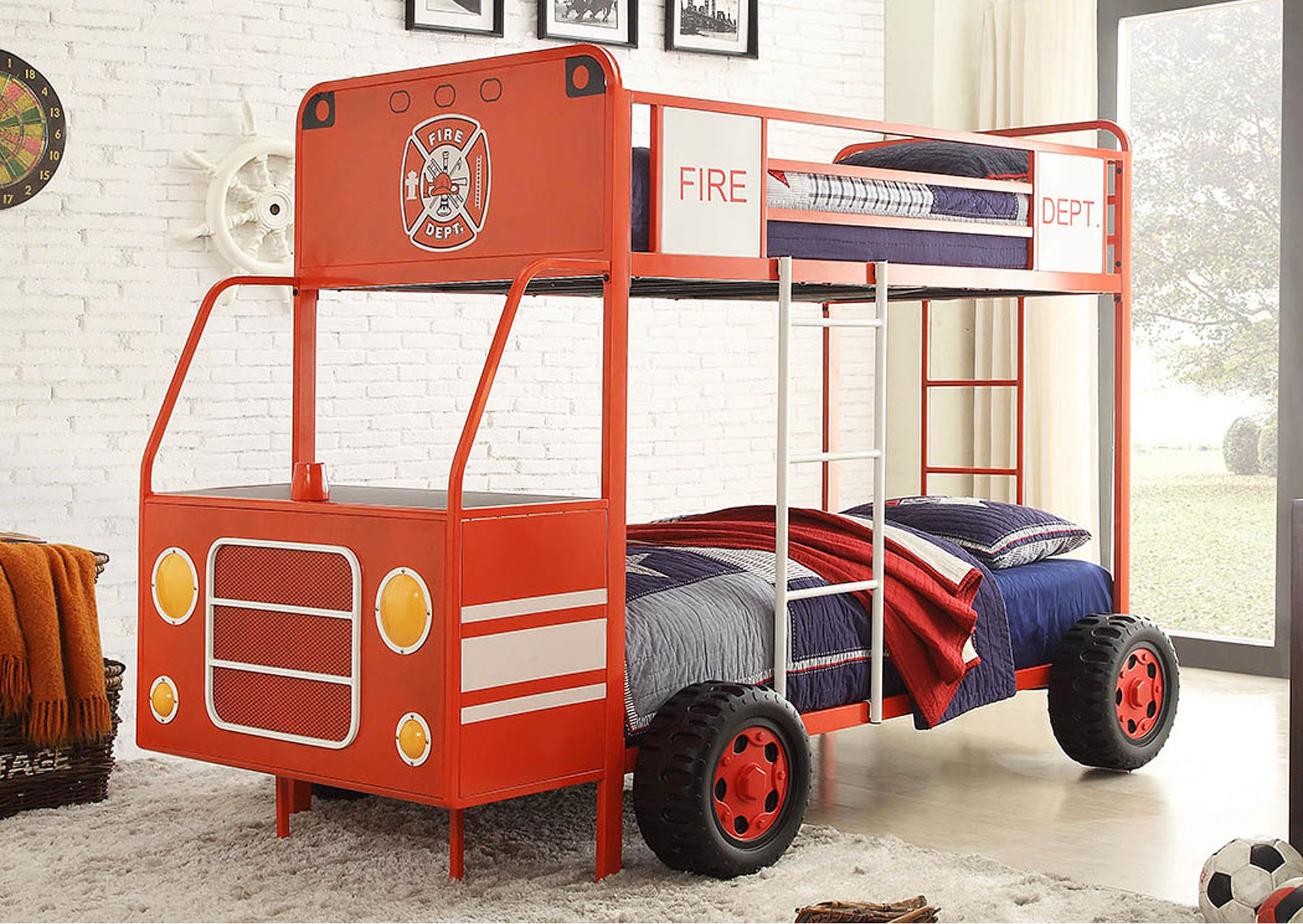 Engine One Twin/Twin Fire Truck Bunkbed,Homelegance