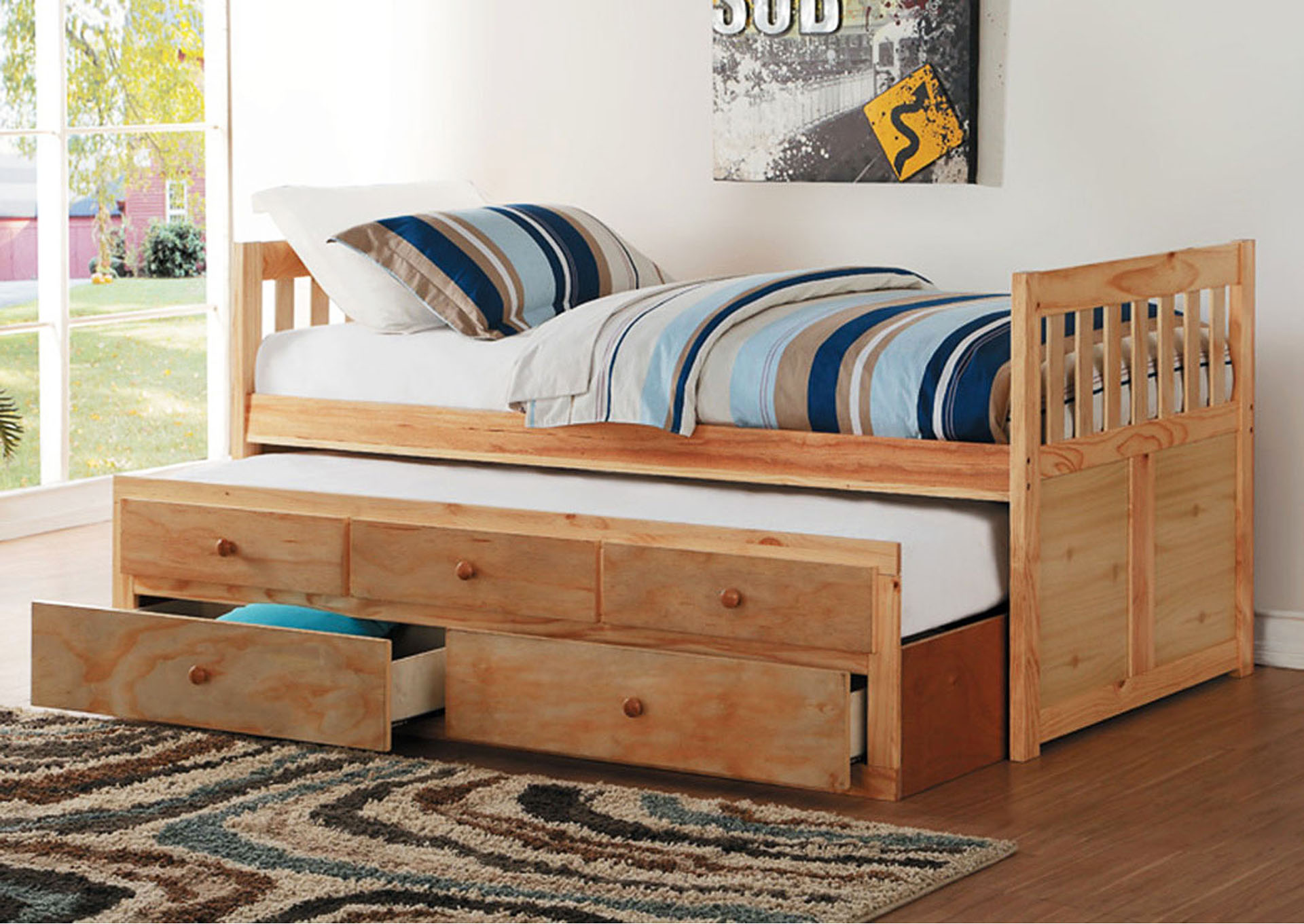 Twin/Twin Trundle Bed w/2 Storage Drawers,Homelegance