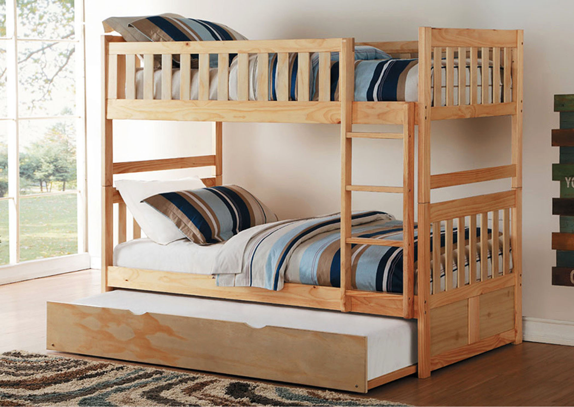 Twin Bunk Bed w/Trundle and 13Pcs Slates,Homelegance