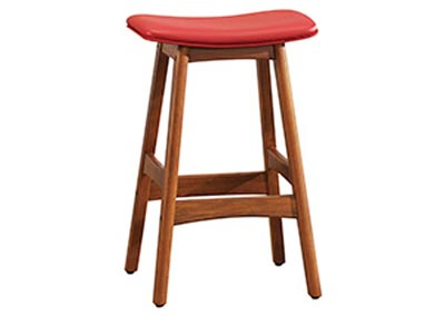 Red Counter Height Stool (Set of 2)