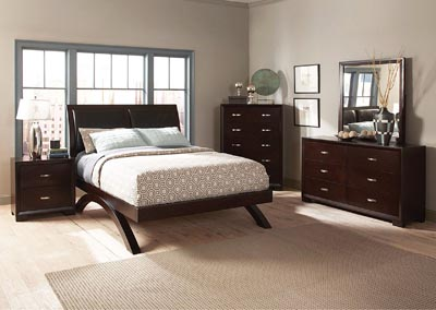 Astrid Queen Platform Bed w/ Dresser, Mirror and 2 Nightstands