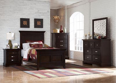 Glamour Espresso Twin Panel Bed w/ Dresser, Mirror and Nightstand