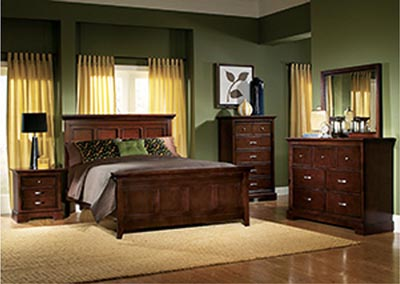 Glamour Espresso Queen Panel Bed w/ Dresser, Mirror, Drawer Chest and Nightstand