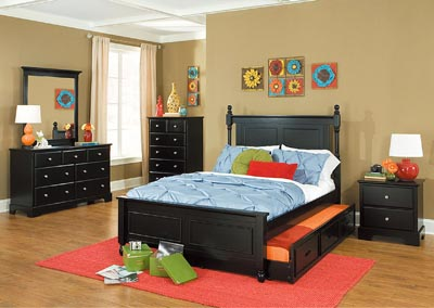 Morelle Black Full Captain's Platform Bed w/ Trundle