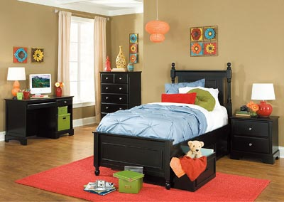 Morelle Black Twin Captain's Platform Bed w/ Three Storage Boxes