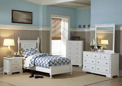 Morelle White Twin Platform Bed w/ Dresser, Mirror, Drawer Chest and Nightstand