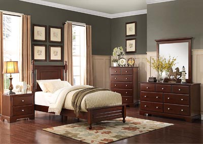 Morelle Cherry Twin Bed w/Dresser, Mirror, Drawer Chest & Nightstand