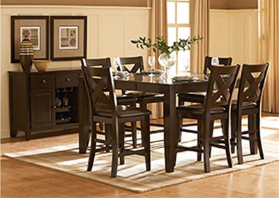 Crown Point Merlot Counter Height Dining Room Table w/4 Counter Height Chairs