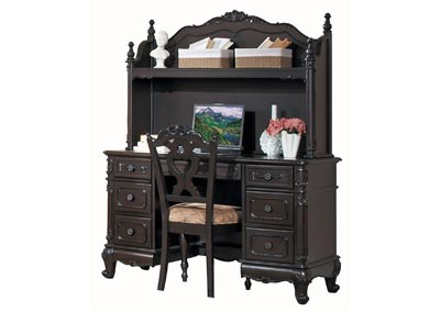 Cinderella Dark Cherry Writing Desk Hutch