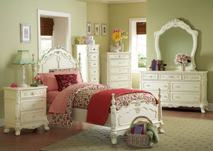 Cinderella White Twin Poster Bed w/ Dresser, Mirror, Drawer Chest and Nightstand