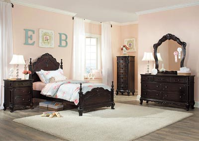 Cinderella Dark Cherry Twin Canopy Poster Bed w/ Dresser, Mirror, Drawer Chest and Nightstand