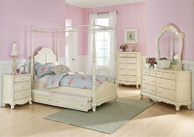 Cinderella White Twin Canopy Poster Bed w/ Dresser, Mirror, Drawer Chest and Nightstand