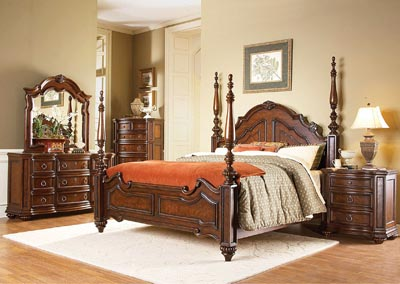 Prenzo Warm Brown Queen Poster Bed w/ Dresser, Mirror, Drawer Chest and Nightstand
