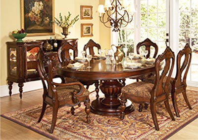 Prenzo Warm Brown Round/Oval Dining Room Table w/ 2 Arm Chairs and 4 Side Chairs