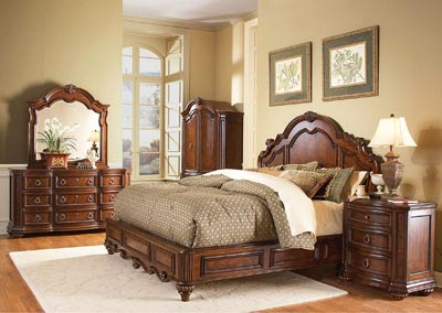 Prenzo Warm Brown Queen Panel Bed w/ Dresser, Mirror, Drawer Chest and Nightstand