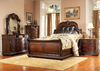 Palace Rich Brown Queen Sleigh Bed w/ Dresser, Mirror, Drawer Chest and Nightstand