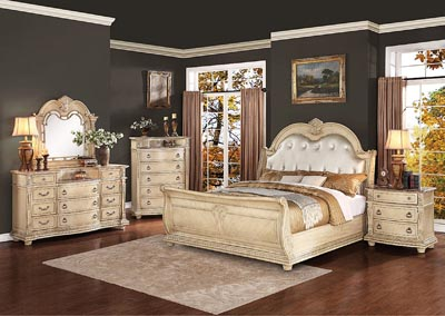 Palace II White Queen Bonded Leather Sleigh Bed w/ Dresser, Mirror, Drawer Chest and Nightstand