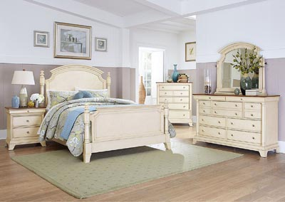 Inglewood II White Queen Panel Bed w/ Dresser, Mirror, Drawer Chest and Nightstand