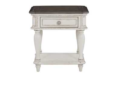 Willowick White End Table W/ Functional Drawer