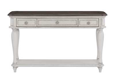 Willowick White Sofa Table W/ Three Functional Drawers