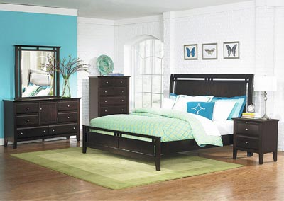 Verano Espresso Queen Panel Bed w/ Dresser, Mirror, Drawer Chest and Nightstand