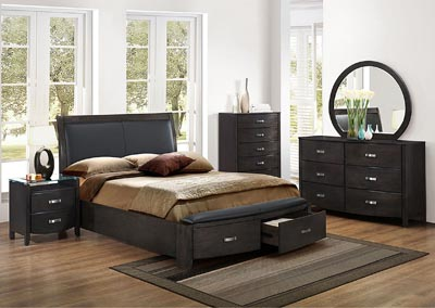 California King Bed w/Storage, Brownish Gray