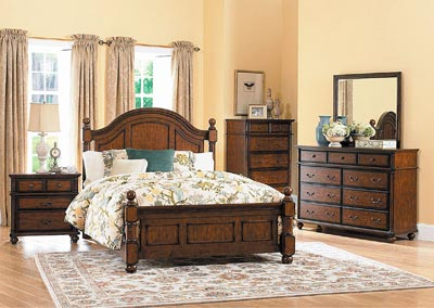 Langston Brown Cherry California King Poster Bed