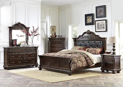 Russian Hill Warm Cherry California King Panel Bed