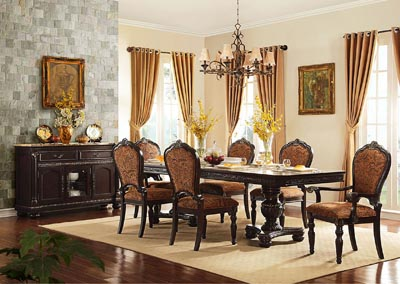 Russian Hill Warm Cherry Dining Room Table w/ 2 Arm Chairs and 4 Side Chairs