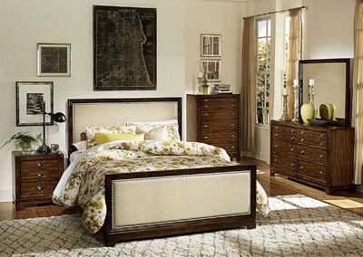Bernal Heights Warm Cherry Upholstered Queen Bed w/ Dresser, Mirror, Drawer Chest and Nightstand