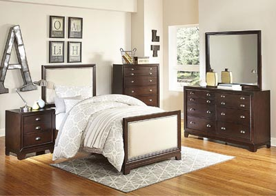 Bernal Heights Warm Cherry Upholstered Twin Bed w/ Dresser, Mirror, Drawer Chest and Nightstand