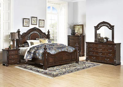 Image for Augustine Court Brown Cherry California King Poster Bed